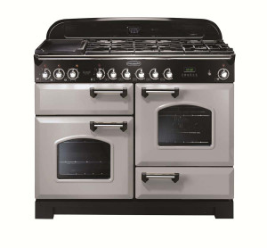 Rangemaster Classic Deluxe 110 Dual Fuel Range Cooker Royal Pearl/Chrome Trim CDL110DFFRP/C 100650