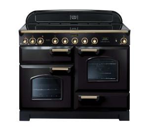 Rangemaster Classic Deluxe 110 Induction Range Cooker Black/Brass Trim CDL110EIBL/B 90430