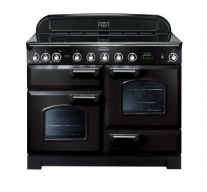 Rangemaster Classic Deluxe 110 Induction Range Cooker Black/Chrome Trim CDL110EIBL/C 90380