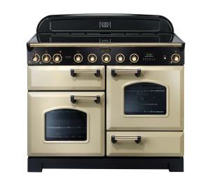 Rangemaster Classic Deluxe 110 Induction Range Cooker Cream/Brass Trim CDL110EICR/B 90440