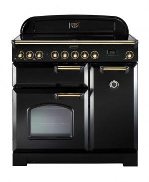 Rangemaster Classic Deluxe 90 Ceramic Black/Brass Trim Range Cooker CDL90ECBL/B 81620