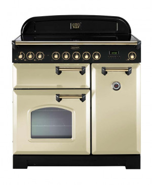 Rangemaster Classic Deluxe 90 Ceramic Cream/Brass Trim Range Cooker CDL90ECCR/B 81650