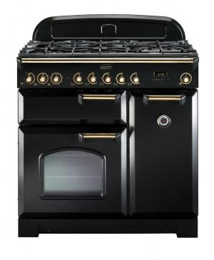 Rangemaster Classic Deluxe 90 Dual Fuel Black/Brass Trim Range Cooker CDL90DFFBL/B 80950