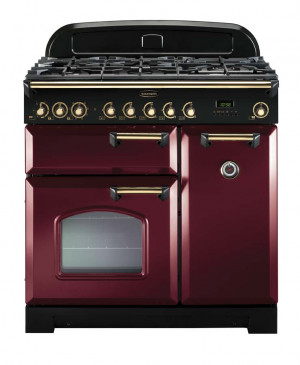 Rangemaster Classic Deluxe 90 Dual Fuel Cranberry/Brass Trim Range Cooker CDL90DFFCY/B 84490