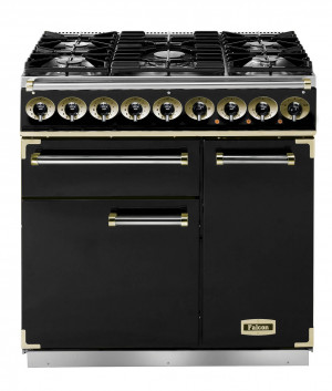 Falcon Deluxe 900 Dual Fuel Black/Brass Range Cooker with Matt Pan Supports