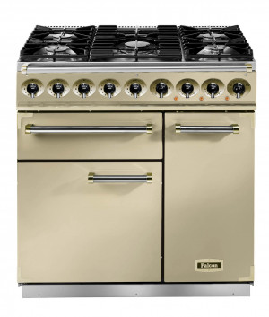 Falcon Deluxe 900 Dual Fuel Cream/Brass Range Cooker with Matt Pan Supports