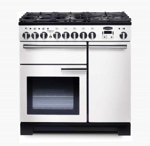 Rangemaster Professional Deluxe 90 Dual Fuel White Range Cooker PDL90DFFWH/C 98960