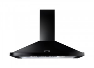Rangemaster 90cm Chimney Cooker Hood Black with Chrome Trim LEIHDC90BC/ 64940