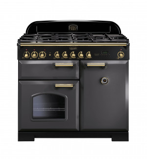 Rangemaster Classic Deluxe 100 Dual Fuel Slate/Brass Trim Range Cooker CDL100DFFSL/B 12421