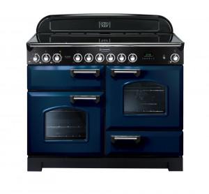 Rangemaster Classic Deluxe 110 Ceramic Range Cooker Regal Blue/Chrome Trim CDL110ECRB/C 114130