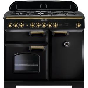 Rangemaster Classic Deluxe 100 Dual Fuel Black/Brass Trim Range Cooker CDL100DFFBL/B 115540