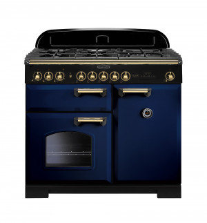 Rangemaster Classic Deluxe 100 Dual Fuel Regal Blue/Brass Trim Range Cooker CDL100DFFRB/B 113840
