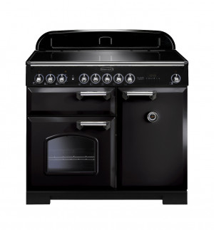 Rangemaster Classic Deluxe 100 Induction Black/Chrome Trim Range Cooker CDL100EIBL/C 95920