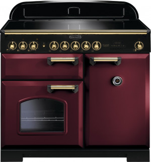 Rangemaster Classic Deluxe 100 Induction Cranberry/Brass Trim Range Cooker CDL100EICY/B 115590