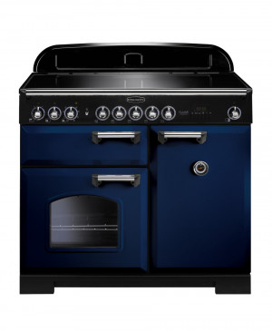 Rangemaster Classic Deluxe 100 Induction Regal Blue/Chrome Trim Range Cooker CDL100EIRB/C 114010