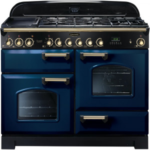 Rangemaster Classic Deluxe 110 Dual Fuel Regal Blue/Brass Trim Range Cooker CDL110DFFRB/B 112920