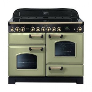 Rangemaster Classic Deluxe 110 Ceramic Range Cooker Olive Green/Brass Trim CDL110ECOG/B 114590