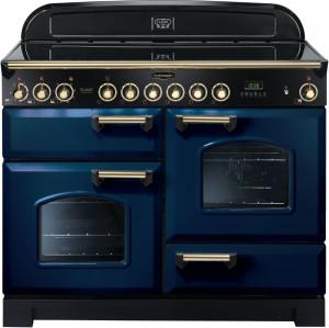 Rangemaster Classic Deluxe 110 Ceramic Range Cooker Regal Blue/Brass Trim CDL110ECRB/B 114140