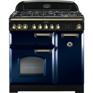 Rangemaster Classic Deluxe 90 Dual Fuel Regal Blue/Brass Trim Range Cooker CDL90DFFRB/B 113540