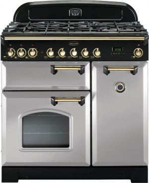 Rangemaster Classic Deluxe 90 Dual Fuel Royal Pearl/Brass Trim Range Cooker CDL90DFFRP/B 114640