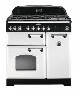 Rangemaster Classic Deluxe 90 Dual Fuel White/Chrome Trim Range Cooker CDL90DFFWH/C 113550