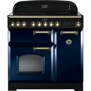 Rangemaster Classic Deluxe 90 Ceramic Regal Blue/Brass Trim Range Cooker CDL90ECRB/B 114260