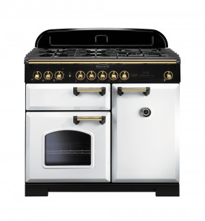Rangemaster Classic Deluxe 100 Dual Fuel White/Brass Trim Range Cooker CDL100DFFWH/B 113860