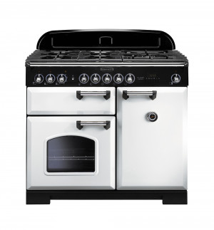 Rangemaster Classic Deluxe 100 Dual Fuel White/Chrome Trim Range Cooker CDL100DFFWH/C 113850
