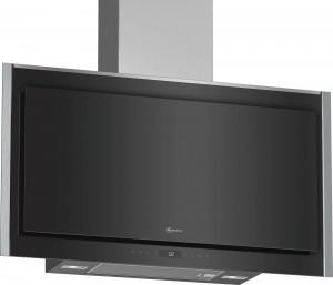Neff N90 90cm Black Glass Flat Slimline Chimney Hood D95FMW1N0B