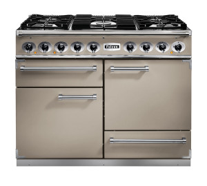 Falcon 1092 Deluxe Dual Fuel Fawn/Nickel Range Cooker with Matt Pan Supports