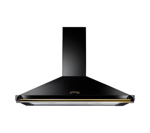 Rangemaster Classic 90cm Cooker Hood Black with Brass Rail CLAHDC90BB/ 63040