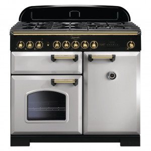 Rangemaster Classic Deluxe 100 Dual Fuel Royal Pearl/Brass Trim Range Cooker CDL100DFFRP/B 114780