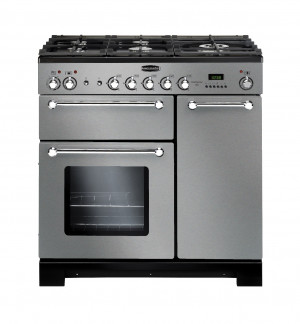 Rangemaster Kitchener 90 Dual Fuel Stainless Steel Range Cooker KCH90DFFSS/C 98760