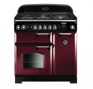 Rangemaster Classic 90 Natural Gas Cranberry/Chrome Trim Range Cooker CLA90NGFCY/C 116740