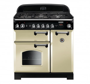 Rangemaster Classic 90 Natural Gas Cream/Chrome Trim Range Cooker CLA90NGFCR/C 116730