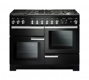 Rangemaster Professional Deluxe 110 Dual Fuel Black Range Cooker PDL110DFFGB/C 97520