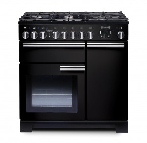 Rangemaster Professional Deluxe 90 Dual Fuel Black Range Cooker PDL90DFFGB/C 97600