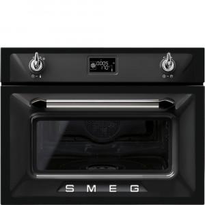 Smeg Victoria 60cm Black Compact Combination Steam Oven SF4920VCN1