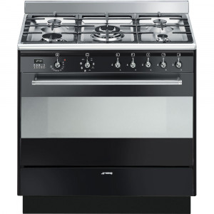 Smeg Concert 90 Black Single Cavity Dual Fuel Range Cooker SUK91MBL9