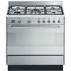Smeg Concert 90 Stainless Steel Single Cavity Dual Fuel Range Cooker SUK91MFX9