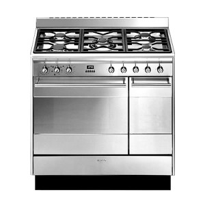 Smeg Concert 90 Stainless Steel Dual Fuel Range Cooker