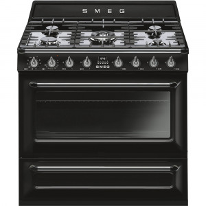 Smeg 90cm Victoria Single Cavity Black Dual Fuel Cooker TR90BL9