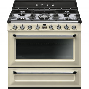 Smeg 90cm Victoria Single Cavity Cream Dual Fuel Cooker TR90P9
